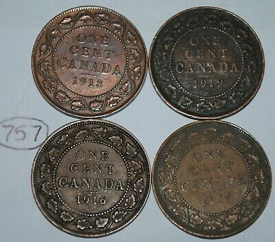 Canada 1916 1917 1918 1919 Large cents Canadian George V Pennies Lot #757