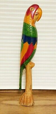 Vintage Antique Hand Carved - Hand Painted Wooden Parrot Bird - 12.5 inch Tall