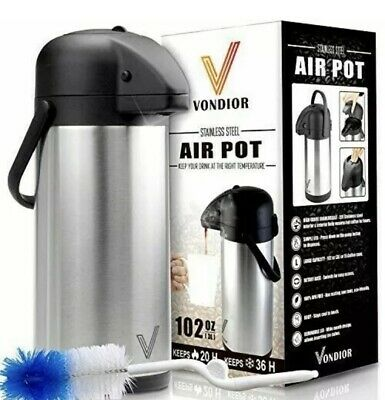 Vondior 102 Oz Stainless Steel Air Pot Box Shows Wear