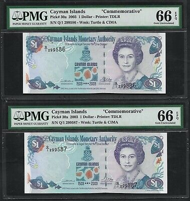 CAYMAN ISLANDS PAIR 1 DOLLAR - PICK 30a 2003 PMG UNC 65 EPQ QUEEN COMMEMORATIVE