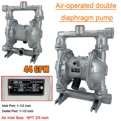 "44GPM Air-Operated Double Diaphragm Pump 1-1/2"" Inlet & Outlet Industrial Fluid"