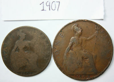 1907 coin collection, set of 2 inc. British half penny & penny