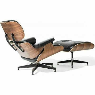 Premium Eames Lounge Chair and Ottoman Italian Black Leather Real Walnut Wood