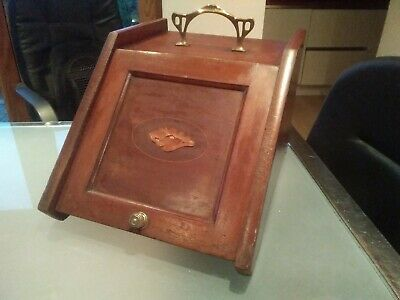 Antique Art Nouveau inlaid walnut coal scuttle purdonium restoration project