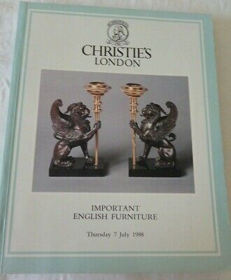 Christies London Auction Catalogue. Important English Furniture. 7th July 1988