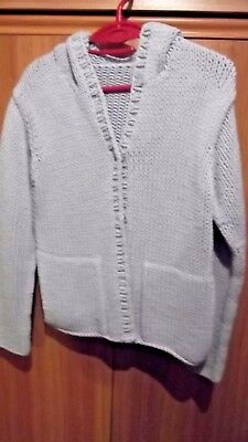 Women's Marks & Spencer Chunky Knit Hooded Cardigan, Size 10, Pale Blue