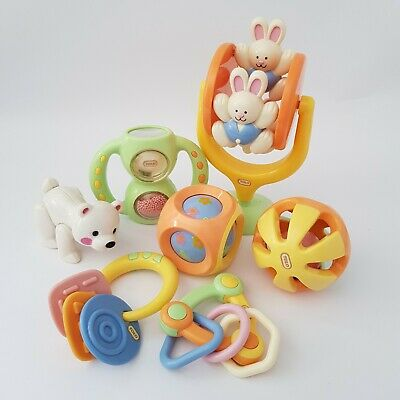 BULK LOT (7) Tolo Toys Pastel Baby Toddler Rattles Chime Shaker Bunnies Bear