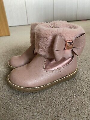 Baker by Ted Baker - Girls' Pink Faux Fur Trim Boots, UK 7