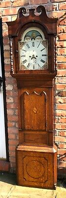 Antique Rolling Moon Oak & Mahogany Longcase Grandfather Clock