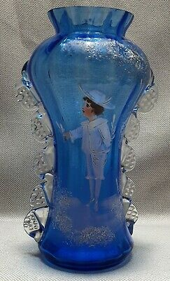 Antique Mary Gregory Blue & Crimped Ribbed Glass Vase 28cm Hand Painted VGC