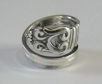 Sterling Silver Spoon Ring - International / Royal Danish - large sprial - 1939