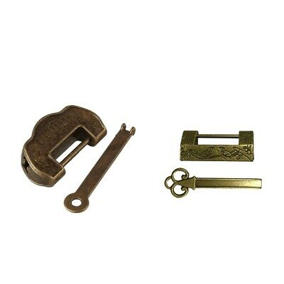 2pcs Retro Chinese Antique Style Brass Carved Pattern Padlock Lock with Key