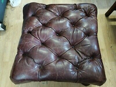Chesterfield Antique Original Footstool Brown Leather Delivery Poss