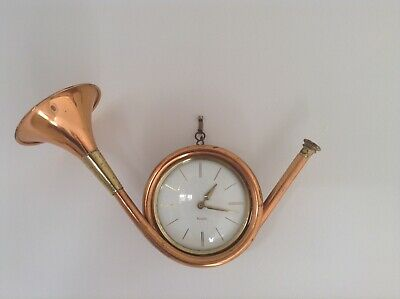 Antique Mid Century Modern Rare Westclox Hunting Horn Wall Clock Collectable