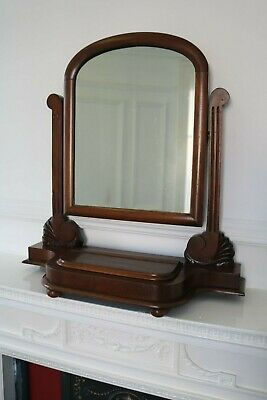 Antique Dressing Table Top Mirror Mahogany Vanity Victorian / Art Deco Nouveau