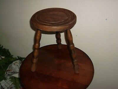 Wooden 3 Legged Milking Stool Turned Top and Legs