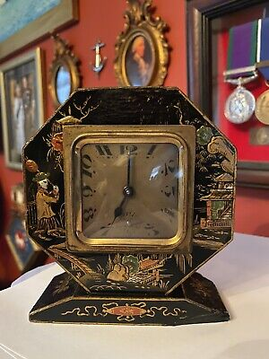 Lovely Rare Art Deco Brevete SGDG Chinoiserie Mantle Clock.