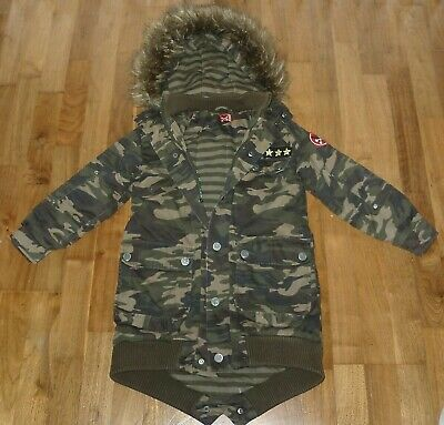 No Added Sugar Military Camouflage Print Parka Coat Age 7-8