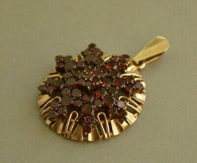 Large Antique Victorian 2-tiered 8ct Solid GOLD Bohemian GARNET Star Pendant