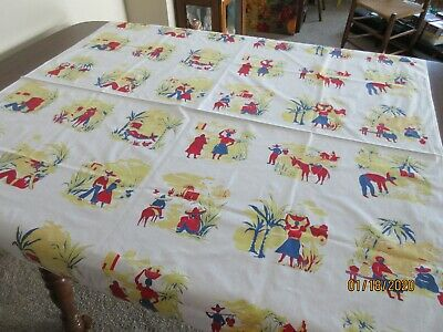 """Vintage Printed Tablecloth, Mexican Theme, 49"""" X 49"""""""
