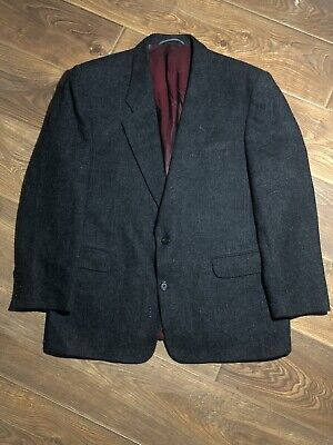 Sandro Mens Two Button Up Collared Blazer Suit Jacket Navy Grey Wool Size L