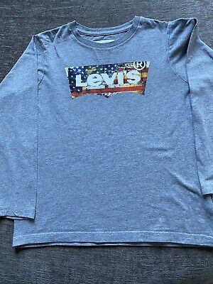 Boys Girls Levis Grey Long Sleeve Tshirt Age 10
