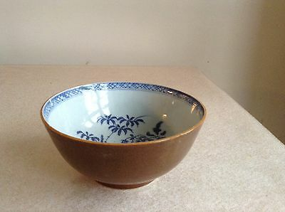 Rare Chinese Batavian Bowl Cafe Au Lait Collectable Blue And White Porcelain