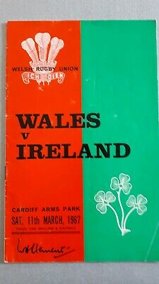 WALES IRELAND 11th March 1967  INTERNATIONAL Rugby Union programmes
