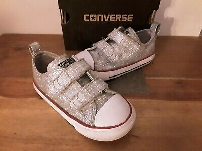 CONVERSE GLITTER SHOES Size 8 uk 24 eu GOOD CLEAN CONDITION Silver KIDS