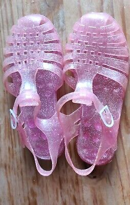 'Jelly Shoes' Vintage Glitter Pink Shoes Uk Size '6'