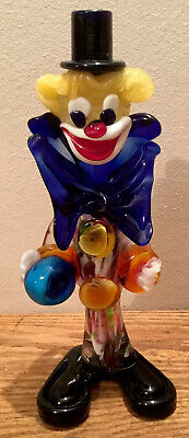VINTAGE MURANO GLASS CLOWN Top Hat Bow Tie Big Feet 24cm Tall 9.5""