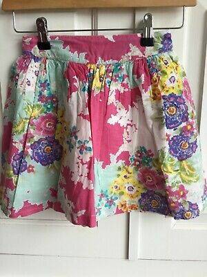 John Lewis girls pink purple floral gathered skirt age 7 Joules style