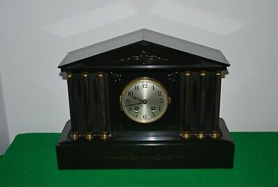 Antique French Black Slate Mantle Clock.