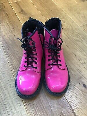 Dr Martens Girls Pink Patent Leather Boots Size 1