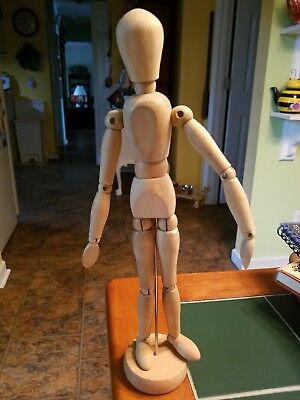 """Mannequin figure, wooden artists jointed 12"""" doll vintage"""