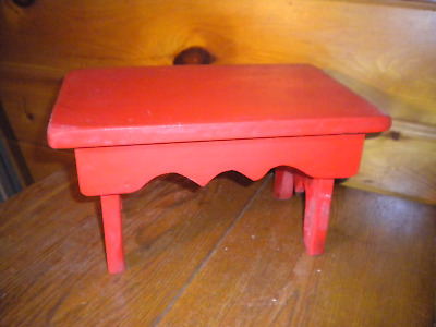 Vintage Primitive Handmade STOOL with Old Red Paint