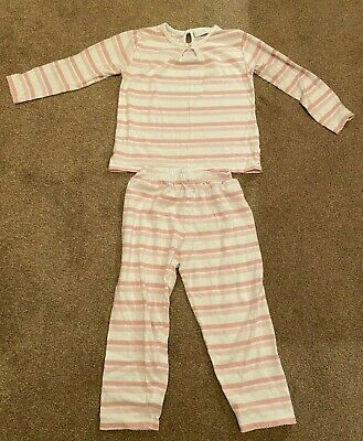 Little White Company pink and white striped pyjamas size 4-5 years