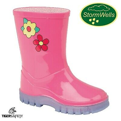 Stormwells Girls Pink Flowers Kids Wellington Boots Childrens Wellies Infants