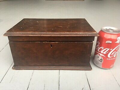 Antique American Hinged Table Box, 19th C Crusty Surface AAFA Primitive