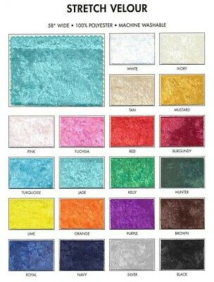 """58"""" Stretch Velvet Fabric By The Yard 100% Polyester - Machine Washable"""