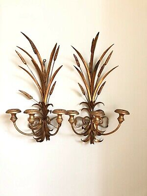 Pair of Large Gilt Wheat Sheaf Wall Sconces Metal And Wood Maison Jansen Style