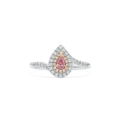 GIA Real 0.46 Ct Pear Cut Fancy Purple Pink Diamond Ring Natural 18K White Gold