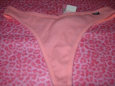 Victoria Secret PINK Sexy Thong String V-Cut Neon Tropical Punch M NWT