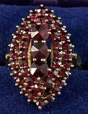 Antique 14k Gold & Bohemian Garnet Ring ~ size 7.75 ART DECO Vintage Early 1900s