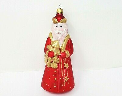 Neiman Marcus Santa Claus Ornament Blown Glass Red White Gold Vintage 6.5 Inch