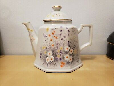 Antique white teapot with wildflowers and gold trim - made in japan
