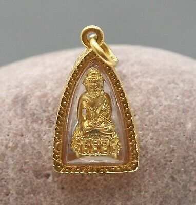 Antique Thailand 24 Carat Solid Gold Buddha Amulet Framed In Solid Gold