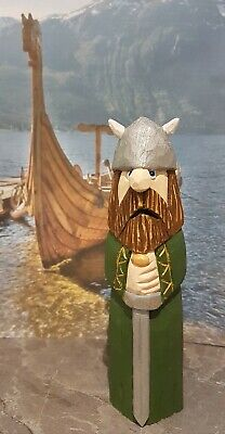 Hand carved and hand painted wooden viking
