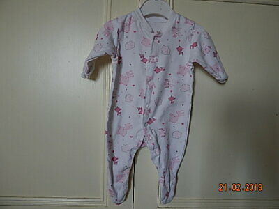 Early Days Baby Girls White Pink Deer & Owl Cotton Babygrow 0-3 Months