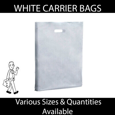 Strong White Varigauge Carrier Bags - 4 sizes and varying quantities available